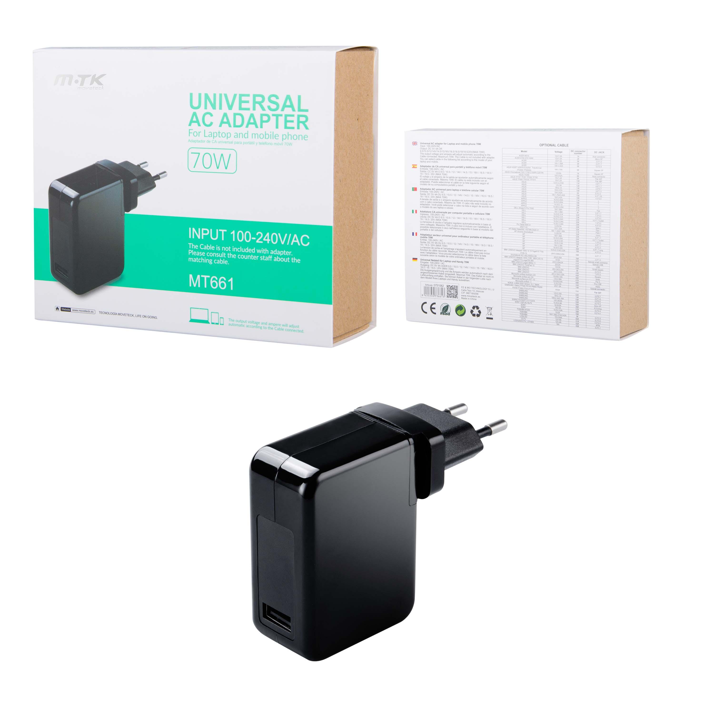 Adaptador Universal para Portatiles y Moviles, 70W Automatico Sin Cables MT661