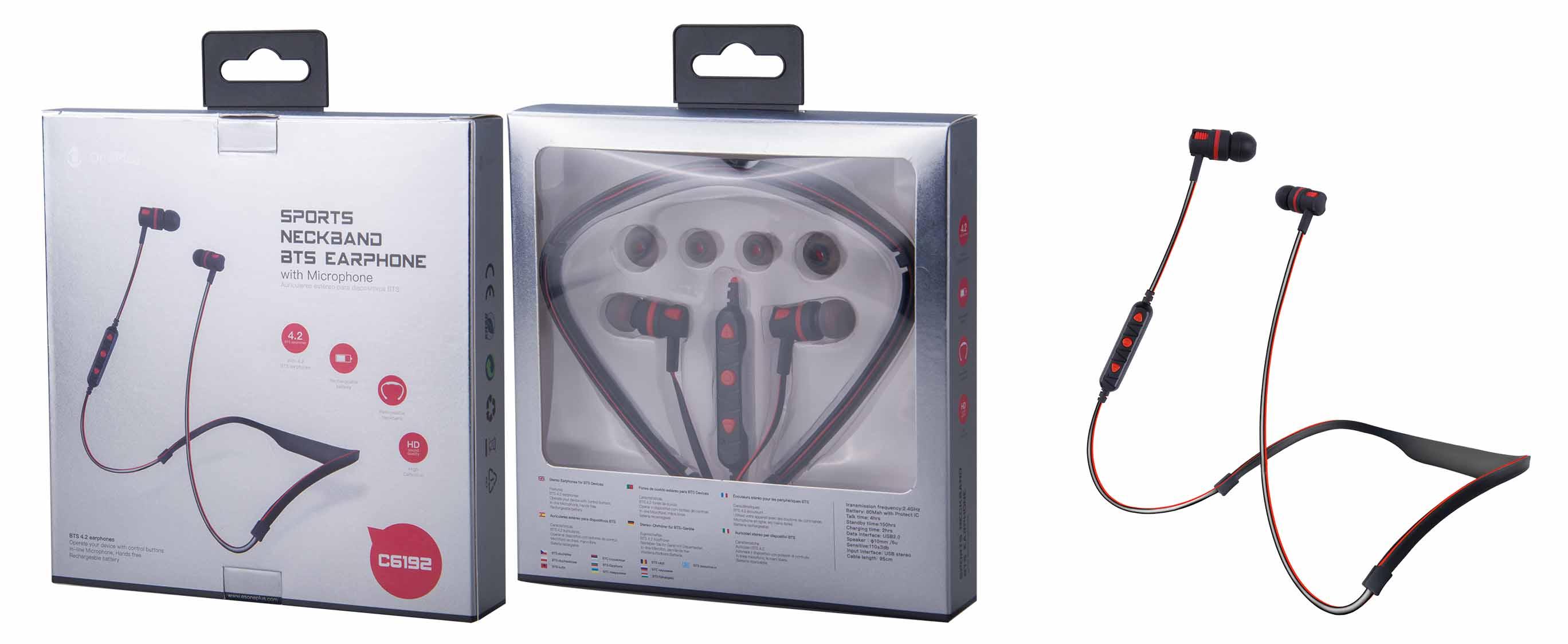 Auricular Bluetooth Deportivo Elise con Soporte de Cuello y Microfono, Rojo