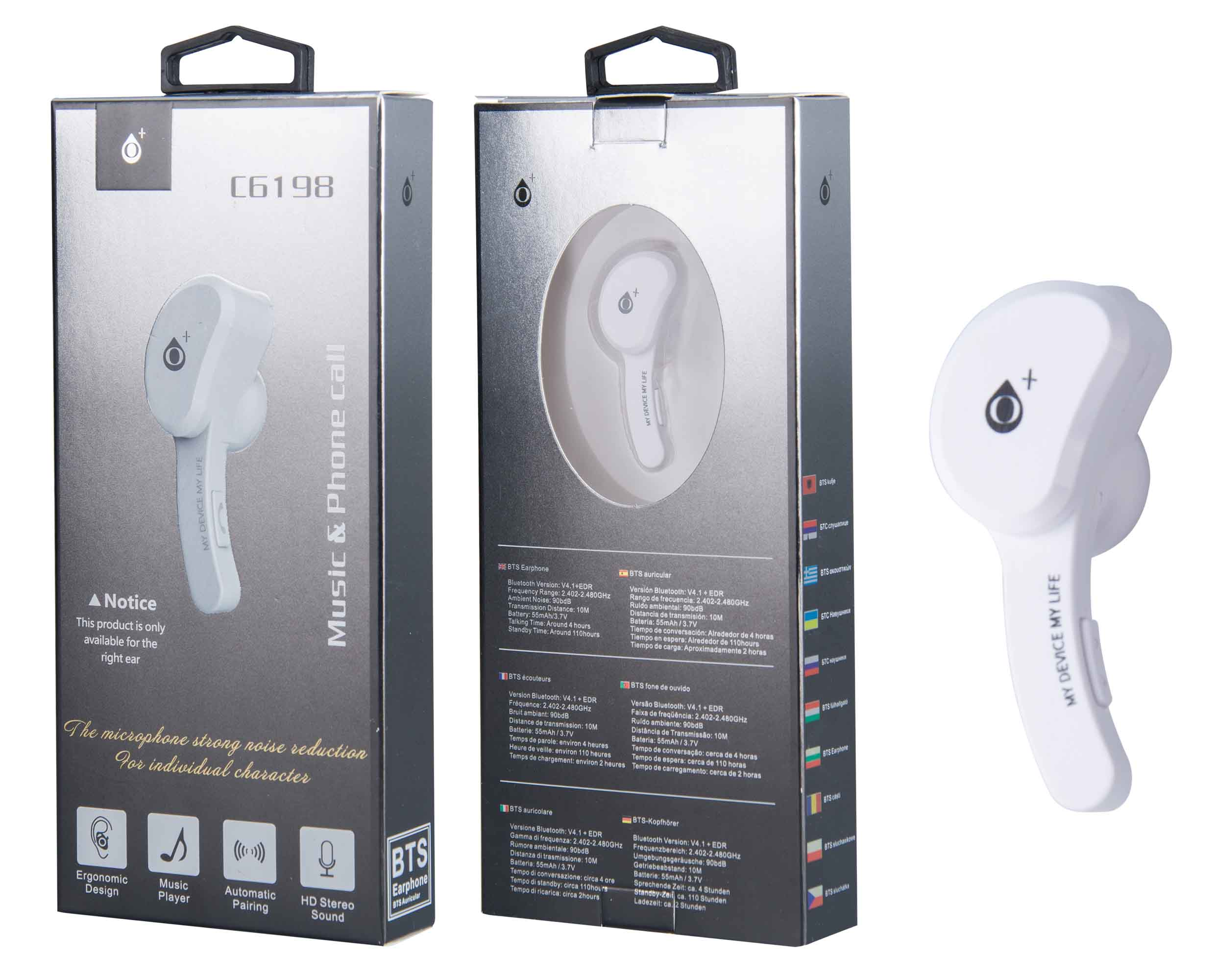 Auricular Bluetooth Twins para 2 Dispositivos BTS, Blanco