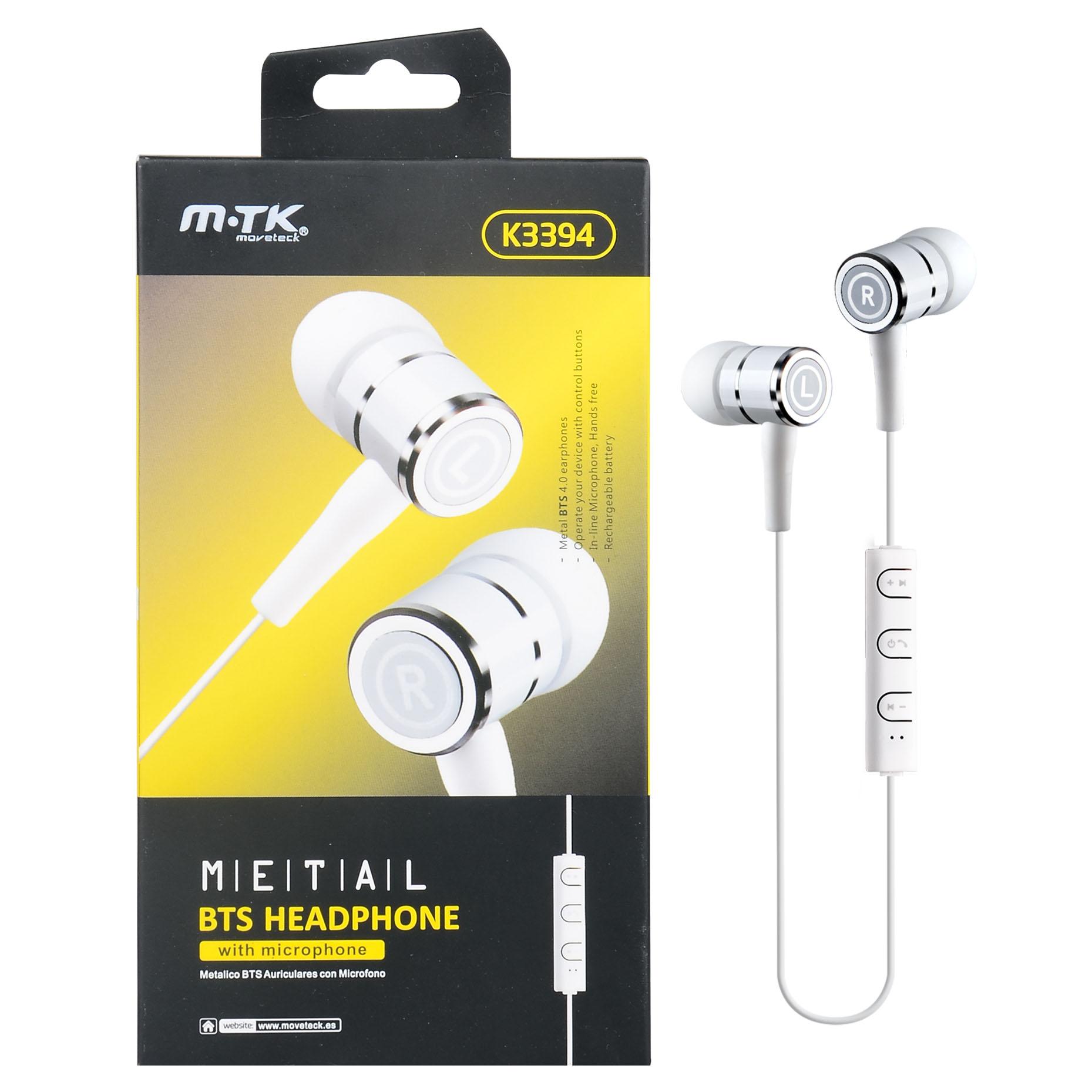 Auriculares Bluetooth Con Microfono Blanco
