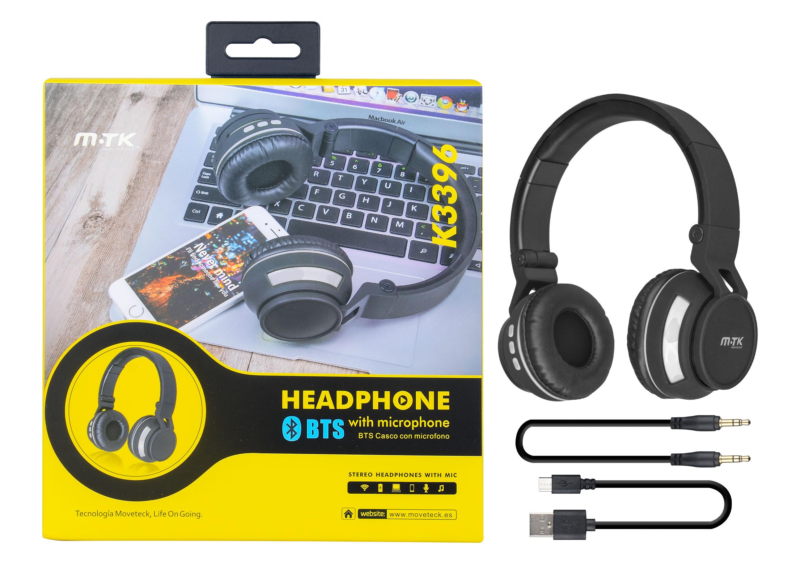 Auriculares Bluetooth Con Microfono Gris k3396