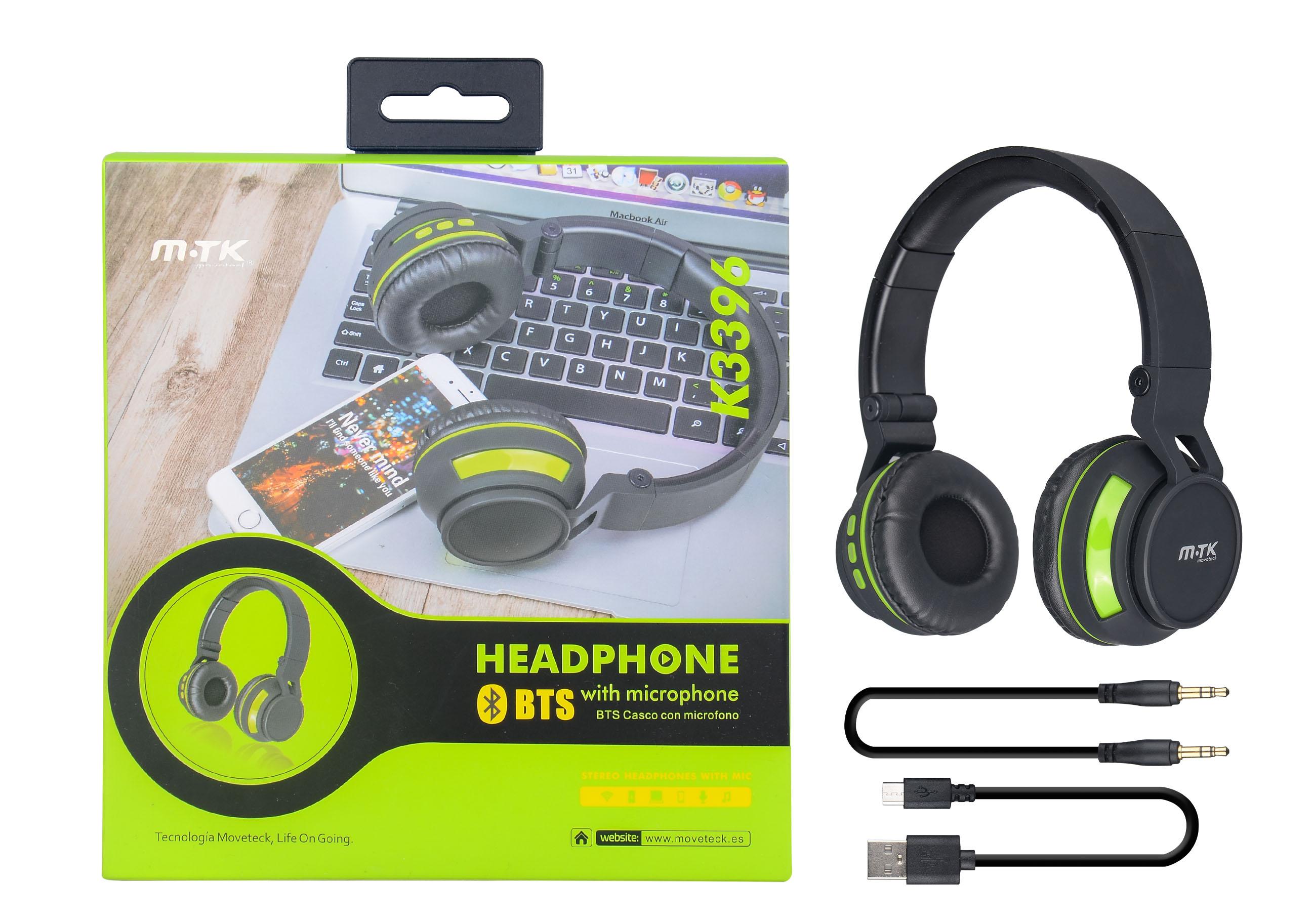 Auriculares Bluetooth Con Microfono Verde k3396 verde
