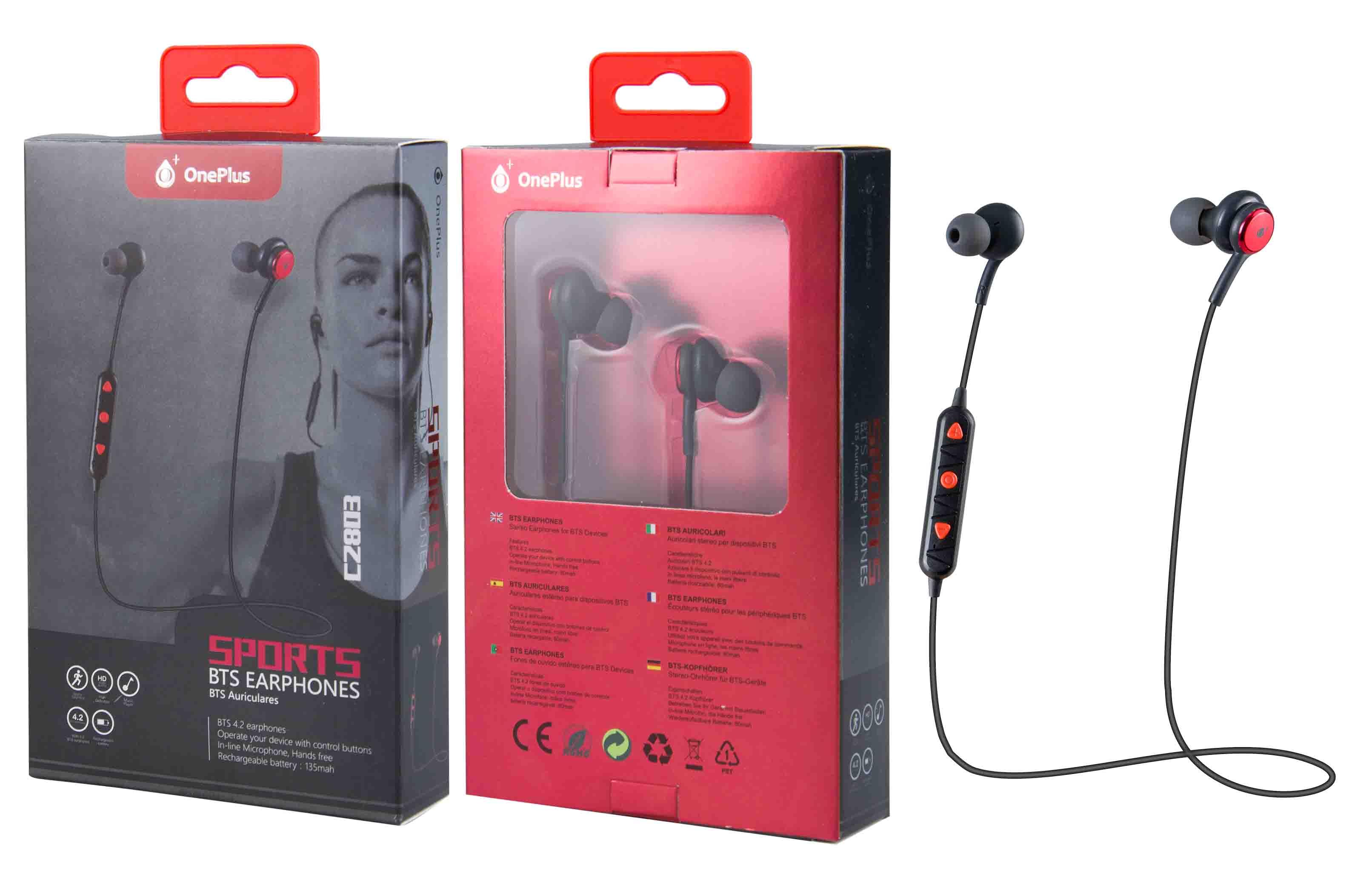 Auriculares Bluetooth Deportivos Bounce con Microfono, Rojo