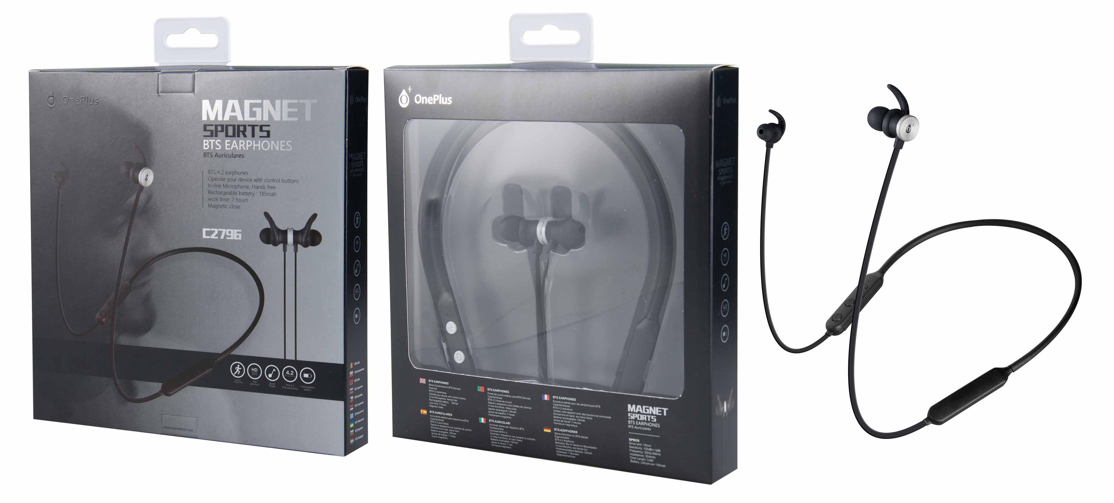 Auriculares Bluetooth Magneticos Fox con Soporte de Cuello y Microfono, Plata