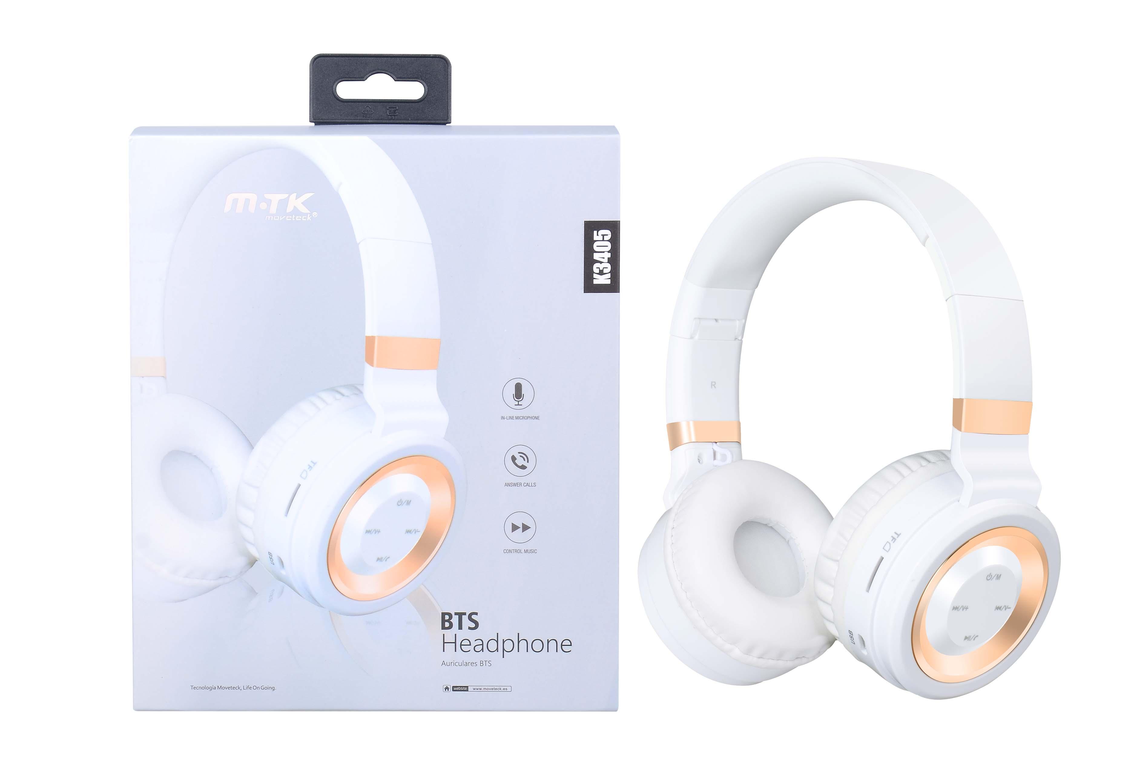 Auriculares Bluetooth con lector Tarjeta MSD, FM, Blanco K3405