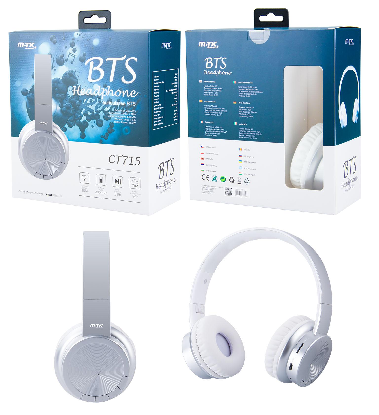 Auriculares Casco Bluetooth con Microfono Oxygen, SD/Audio/FM, CT715 PLATA
