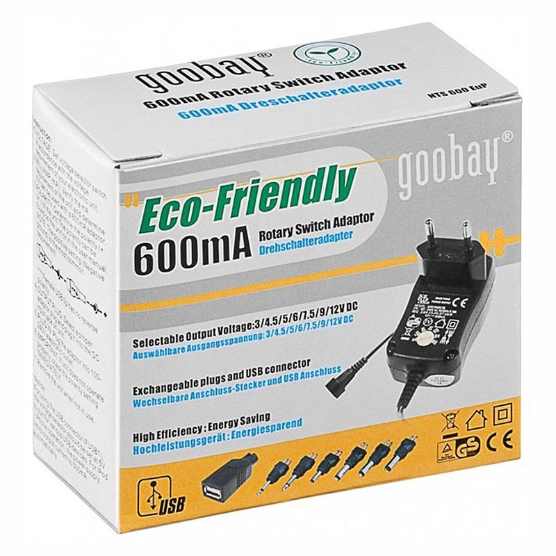 CARGADOR, ADAPTADOR GOOBAY ECO-FRIENDLY - 600MAH