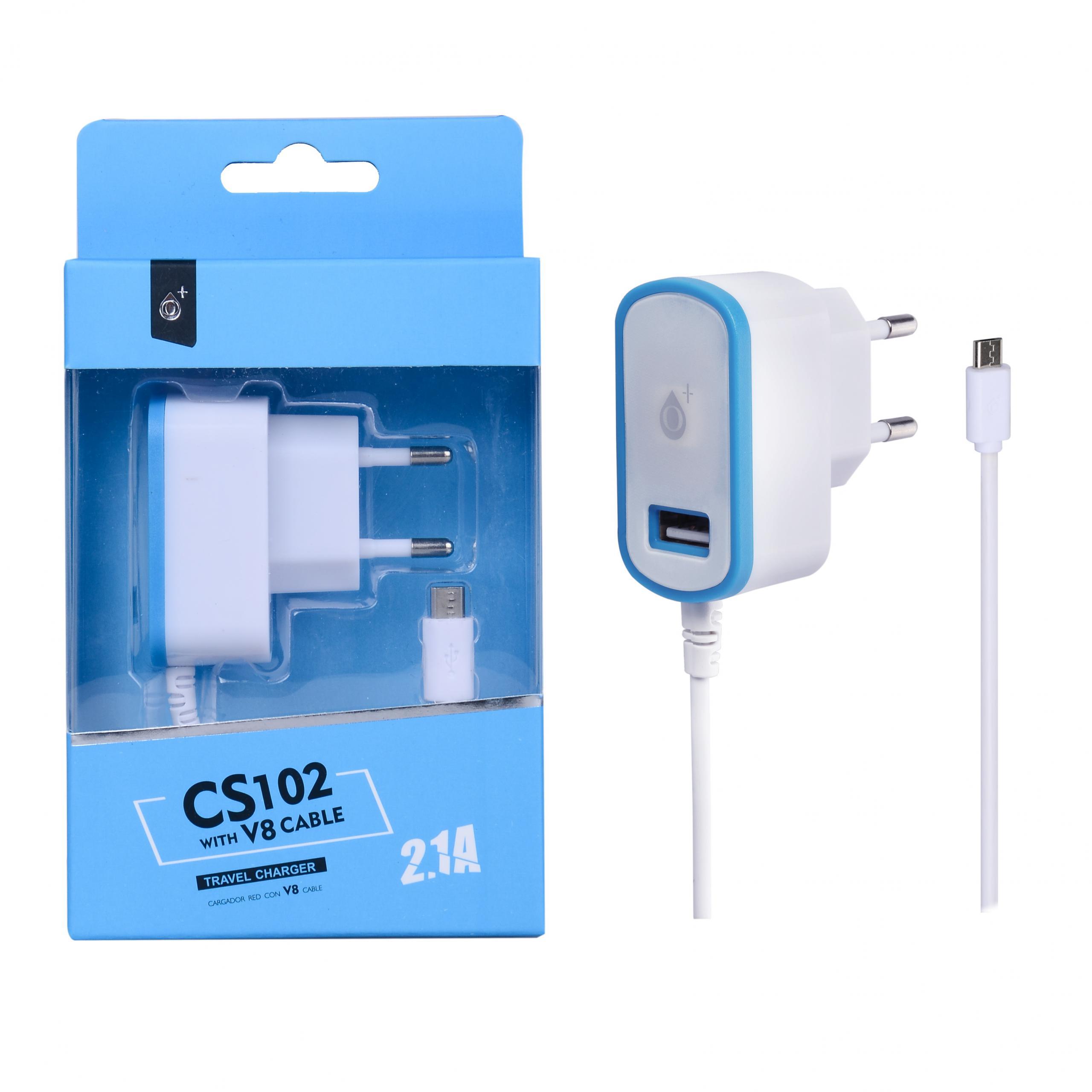 Cargador Red Twin para Micro USB con 1USB, 2,1A Azul
